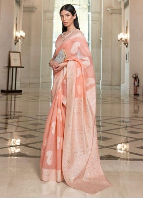 Weaving Fancy Fabric Peach Classic Saree