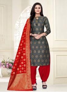 Grey Weaving Fancy Fabric Punjabi Suit