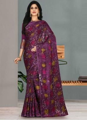 Weaving Fancy Fabric Purple Traditional Designer Saree