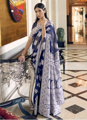 Weaving Fancy Fabric Traditional Designer Saree in Blue
