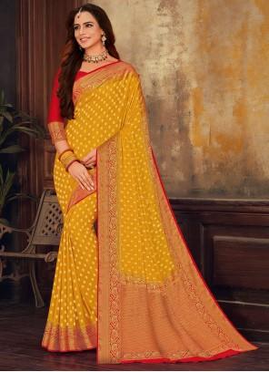 Multi Colour Weaving Faux Chiffon Designer Saree