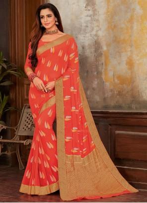Weaving Faux Chiffon Designer Saree in Orange
