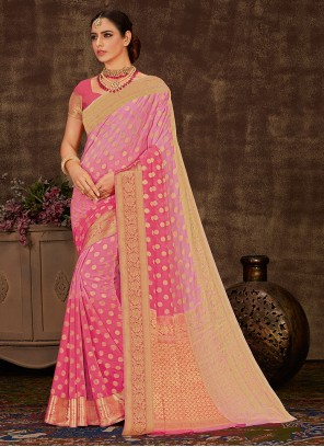 Weaving Faux Chiffon Shaded Saree in Pink