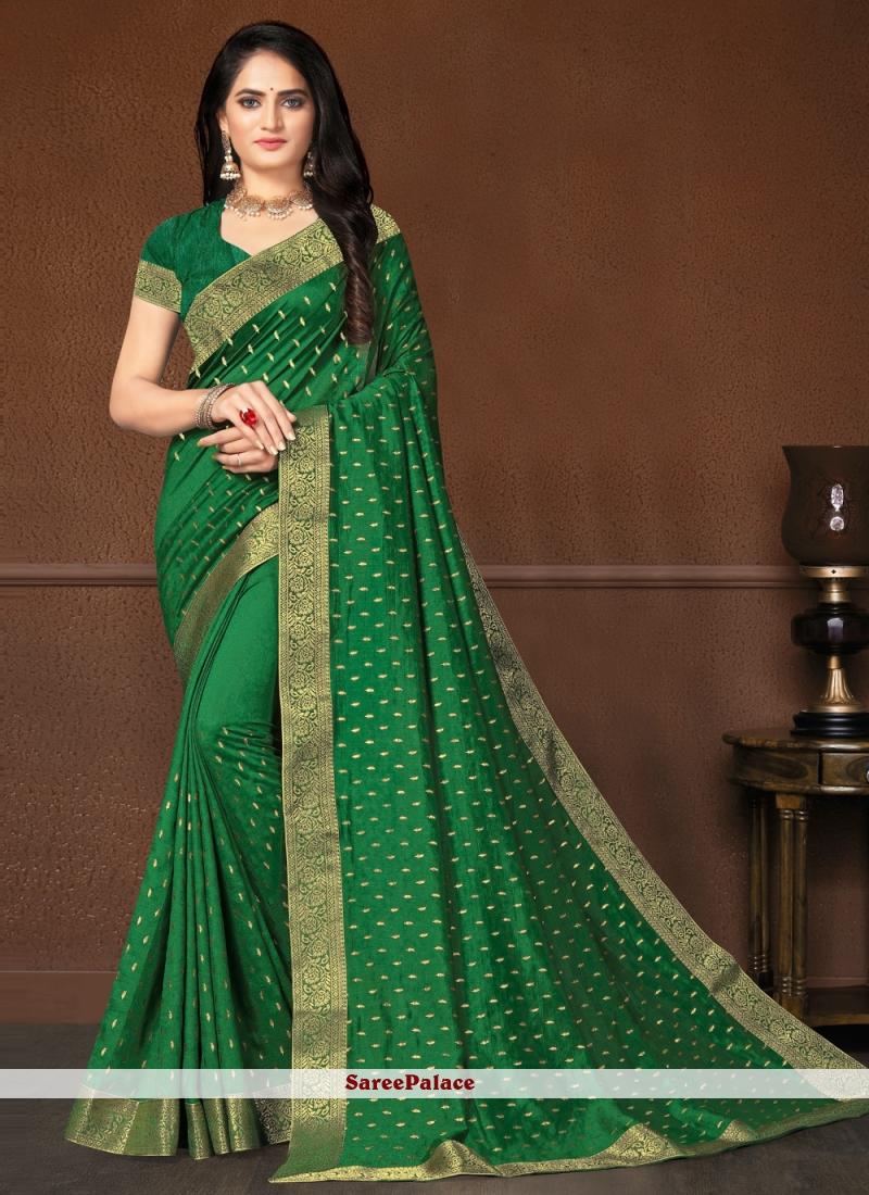 Weaving Festival Bollywood Green Saree