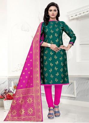 Weaving Festival Churidar Green Salwar Kameez