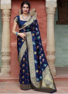 Weaving Festival Blue Contemporary Saree