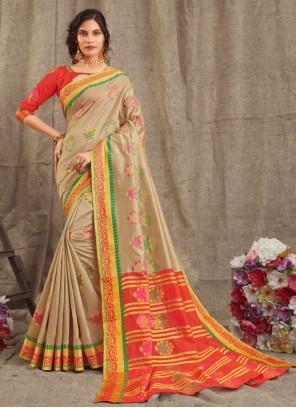 Weaving Festival Beige Contemporary Saree