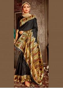 Weaving Festival Designer Black Traditional Saree