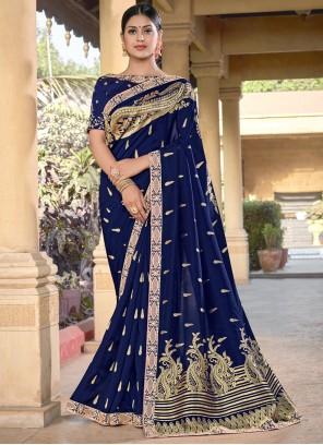Blue Weaving Festival Designer Traditional Saree