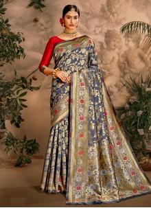 Weaving Festival Traditional Designer Blue Saree