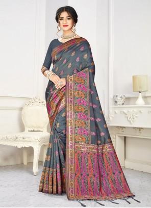 Weaving Festival Grey Traditional Designer Saree