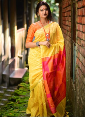 Yellow Weaving Festival Traditional Designer Saree