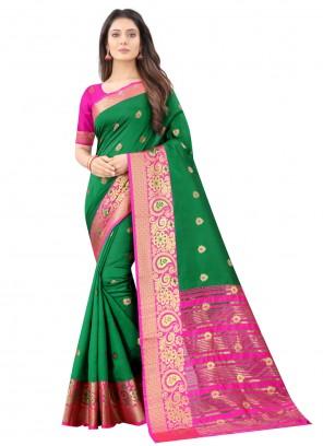 Green Weaving Festival Traditional Designer Saree