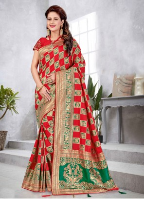 Weaving Festival Red Traditional Saree