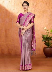 Magenta Weaving Festival Traditional Saree