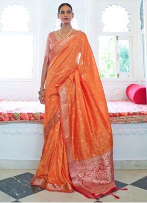 Orange Weaving Festival Traditional Saree