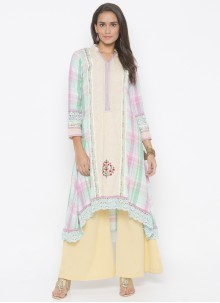 Weaving Georgette Cream Designer Kurti