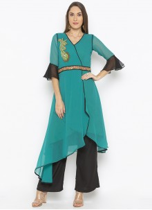 Weaving Georgette Designer Kurti in Green