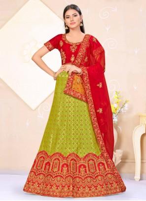 Weaving Green and Red Satin Silk Lehenga Choli