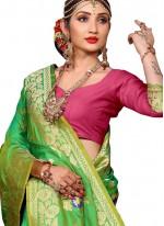 Weaving Green Art Silk Traditional Saree