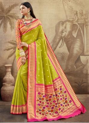 Weaving Green Banarasi Silk Classic Saree