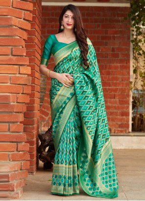 Weaving Green Banarasi Silk Designer Saree