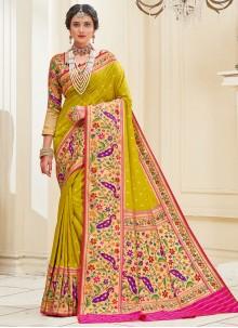 Weaving Green Banarasi Silk Traditional Saree