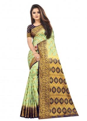 Weaving Pista Green Classic Saree