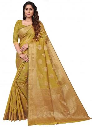 Weaving Green Cotton Designer Saree