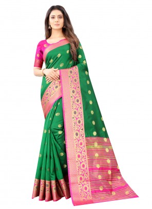 Weaving Green Kanjivaram Silk Traditional Designer Saree
