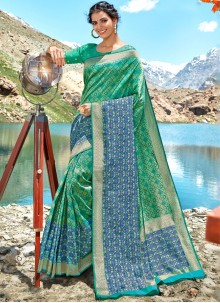 Weaving Green Silk Classic Saree