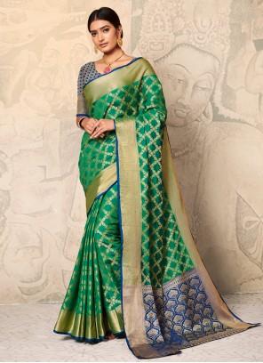 Weaving Green Silk Classic Saree
