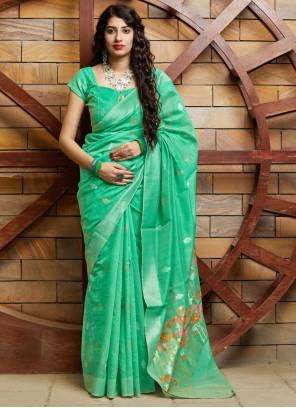 Weaving Green Silk Contemporary Saree