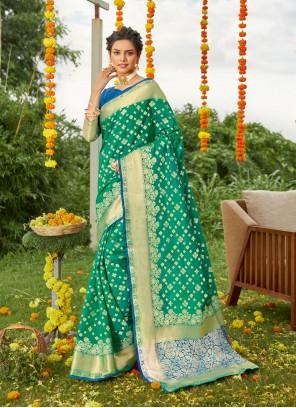 Weaving Green Silk Designer Saree