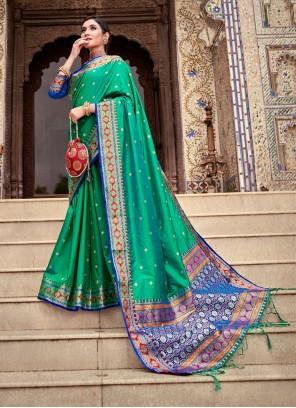 Weaving Green Silk Designer Traditional Saree