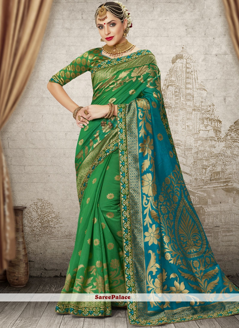 Weaving Green Traditional Designer Saree