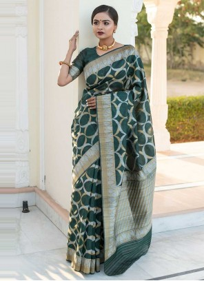 Weaving Green Tussar Silk Designer Saree
