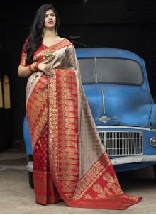 Weaving Grey and Red Banarasi Silk Saree