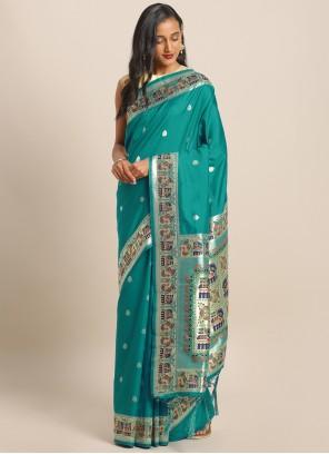 Weaving Grey Art Banarasi Silk Saree