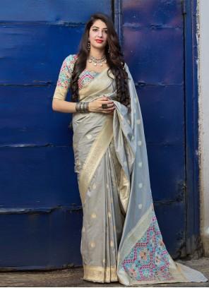 Weaving Grey Banarasi Silk Contemporary Saree
