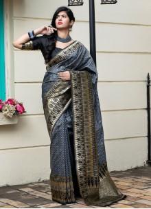 Weaving Grey Banarasi Silk Traditional Designer Saree