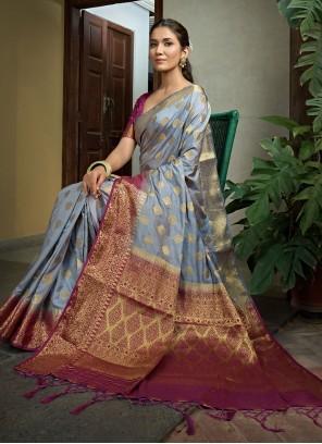 Weaving Grey Classic Saree