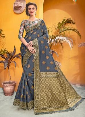 Weaving Grey Contemporary Saree