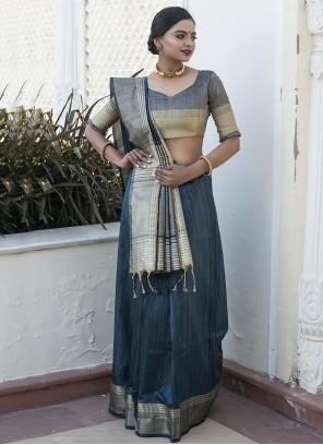 Weaving Grey Designer Traditional Saree