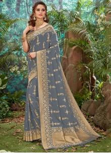 Weaving Grey Silk Trendy Saree