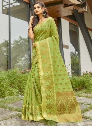 Weaving Handloom Cotton Green Traditional Saree