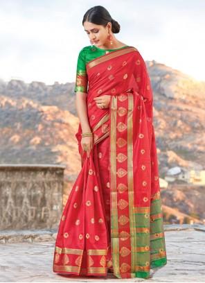 Weaving Handloom Cotton Traditional Designer Saree in Red