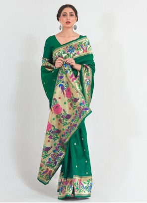 Weaving Handloom silk Traditional Green Designer Saree