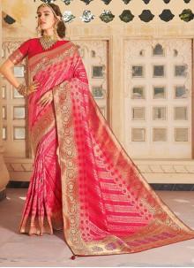 Weaving Hot Pink Classic Saree