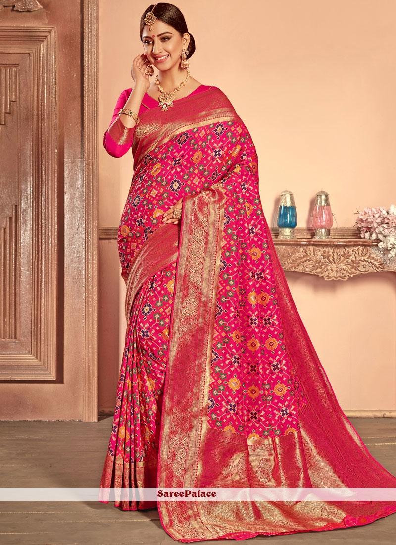 531f5a6984265 Buy Weaving Hot Pink Patola Silk Designer Traditional Saree Online
